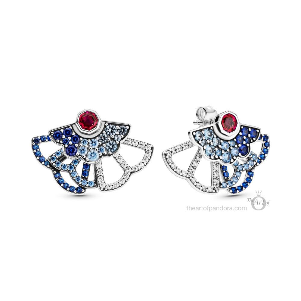 Pandora Blue & Pink Fan Statement Stud Earrings  (298195SRUMX) pre autumn 2020
