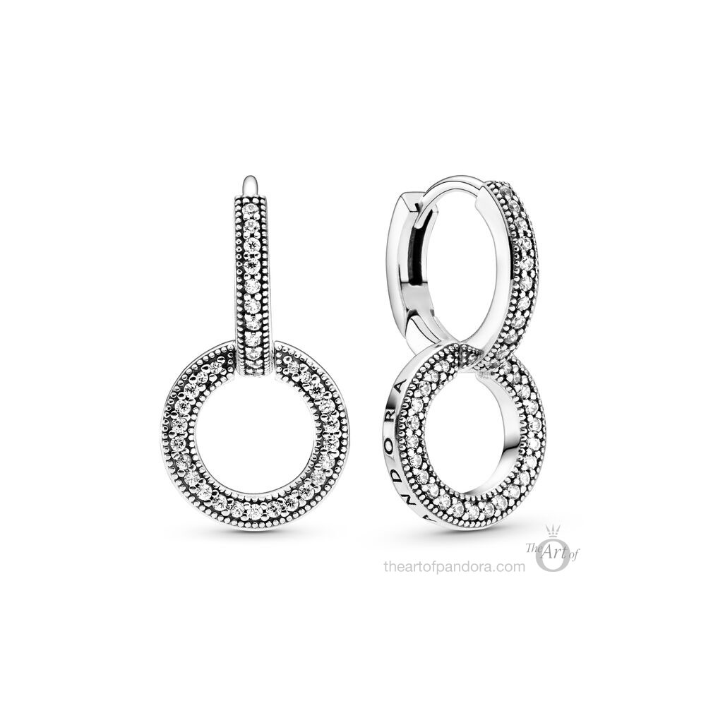 Pandora Signature Sparkling Double Hoop Earrings (299052C01) Pre Autumn 2020 new collection