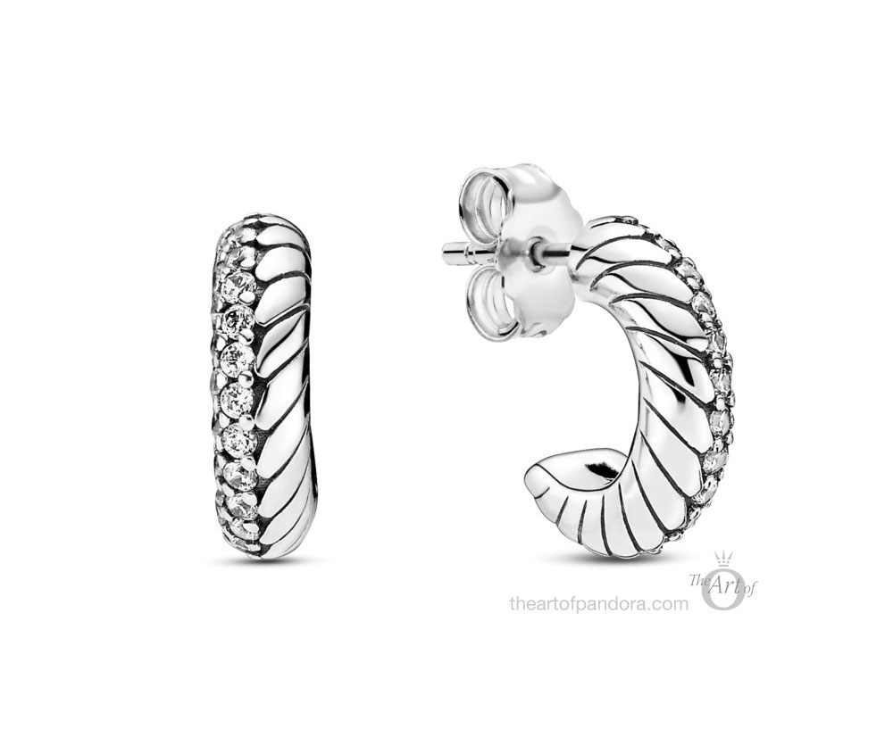 Pandora Pave Snake Chain Pattern Hoop Earrings (299091C01) autumn 2020