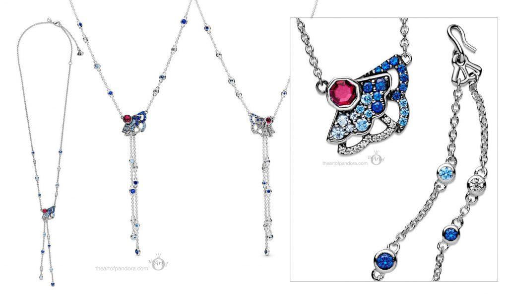 398183SRUMX Pandora Blue Pink Fan Y Necklace pre autumn 2020