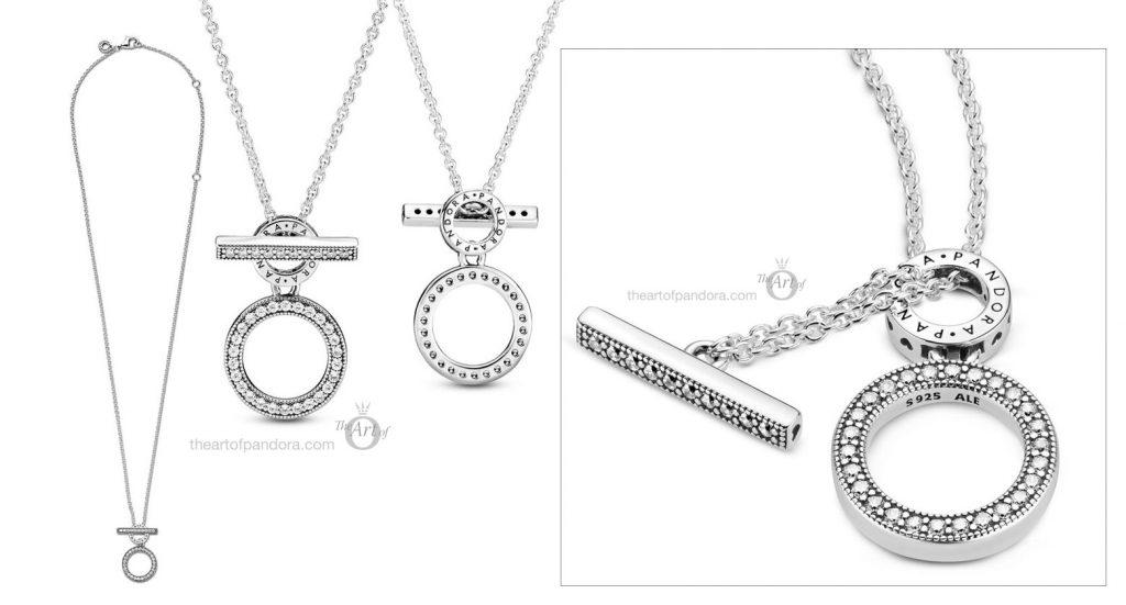 Pandora Signature Pandora Double Hoop T-Bar Necklace (399039C01) Pre Autumn 2020 new collection