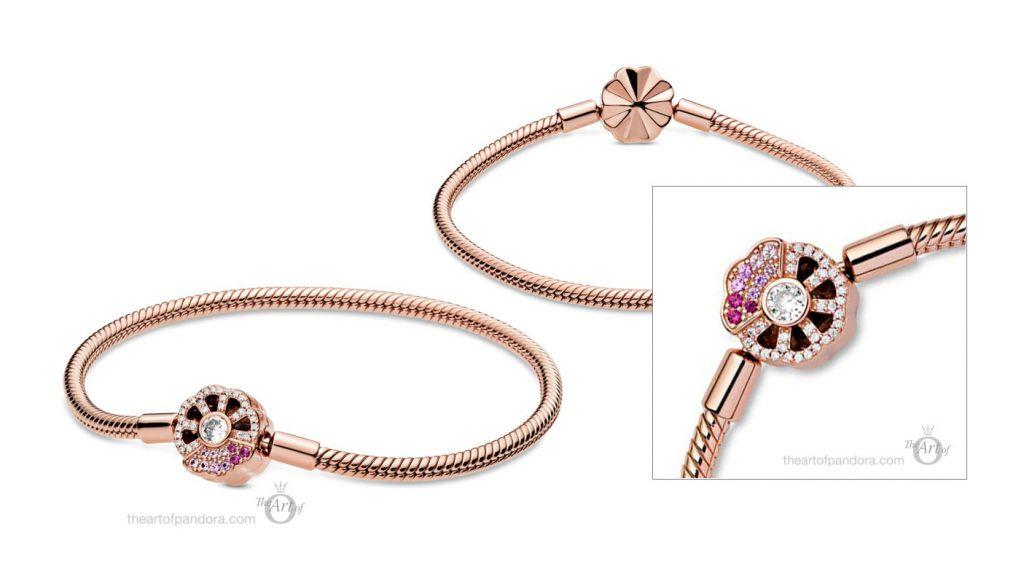 Pandora Rose Moments Pink Fan Clasp Snake Chain Bracelet 588145C01 Pre Autumn 2020