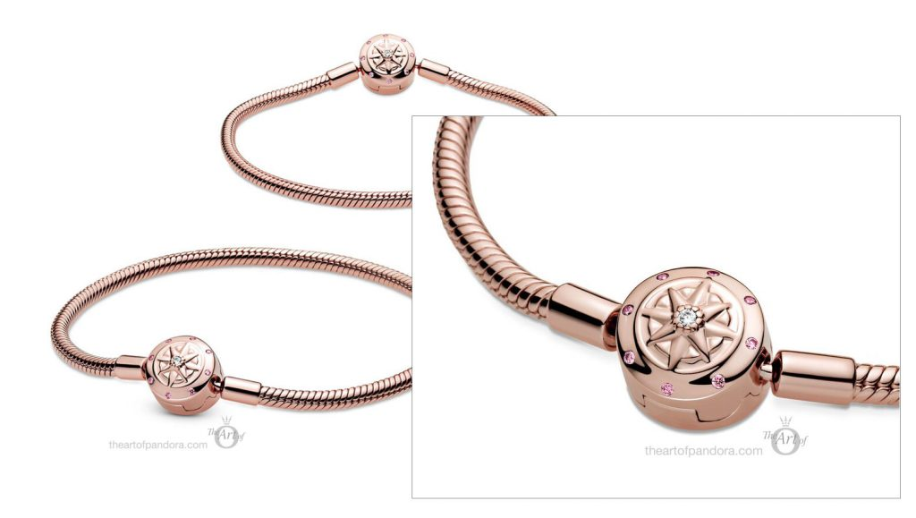 China Exclusive Pandora Signature Rose Moments Compass Snake Chain Bracelet  with diamond (589018C02) Pre Autumn 2020 new collection