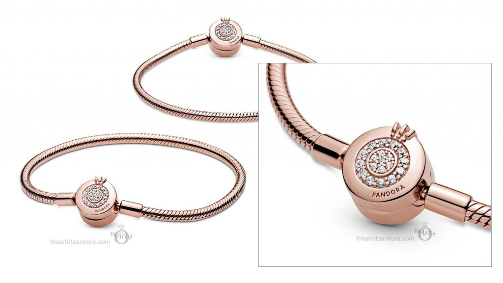 Pandora Signature Rose Moments Sparkling Crown O Snake Chain Bracelet (589046C01) Pre Autumn 2020 new collection