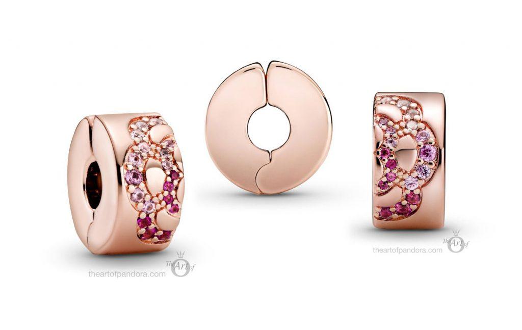 788153C01 Pandora Rose Pink Fan Pattern Spacer Clip Charm pre autumn 2020