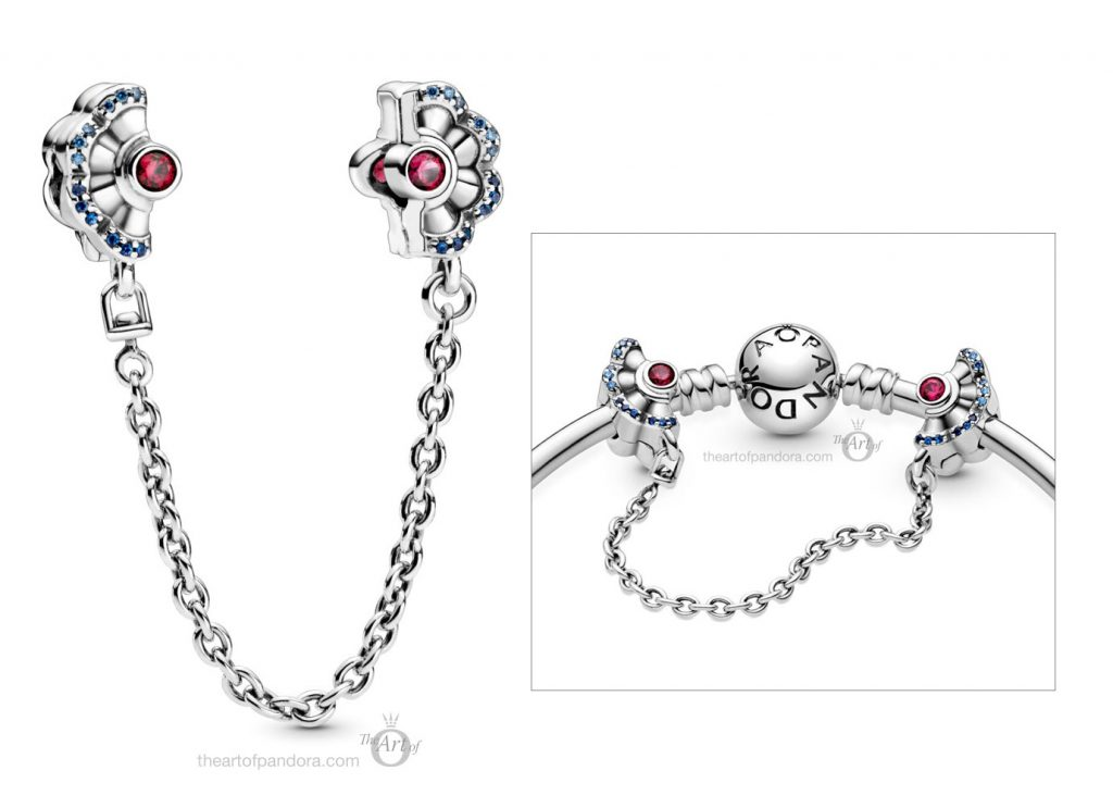 798163SRUMX Pandora Blue Pink Fan Safety Chain Clip Charm pre autumn 2020