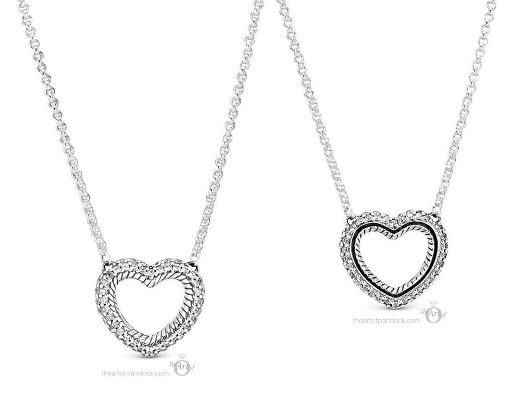 Pandora Pavé Snake Chain Pattern  Open Heart Collier Necklace  (399110C01) autumn 2020