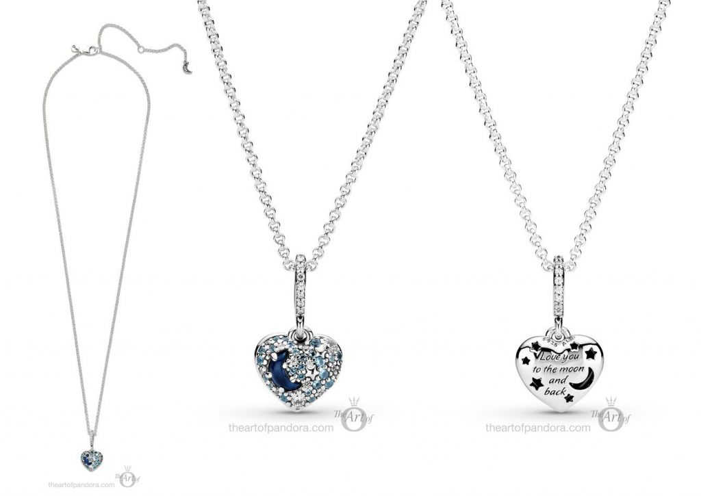 399232C01 Pandora Blue Moon & Stars Heart Necklace