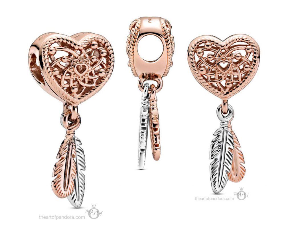 Pandora Rose  Openwork Heart Two Feathers Dreamcatcher Charm (789068C00) autumn 2020