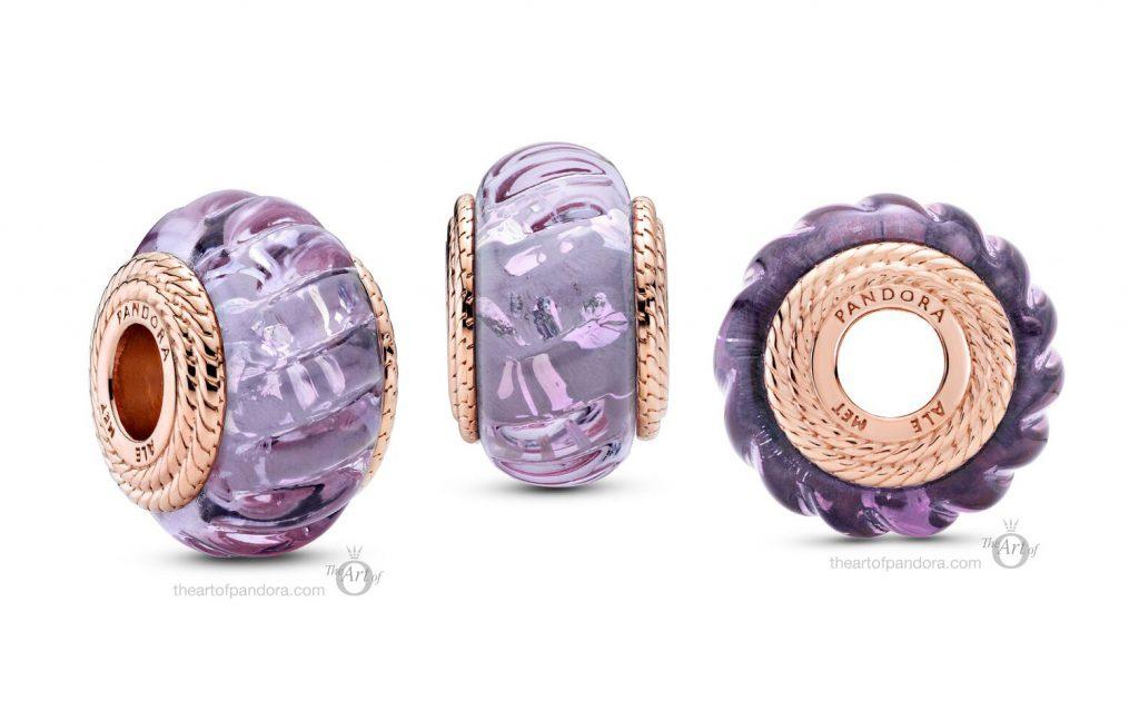 Pandora Rose Wavy Purple Murano Glass Charm (789079C00) autumn 2020