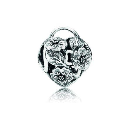 791397 Pandora Floral Heart Padlock Charm