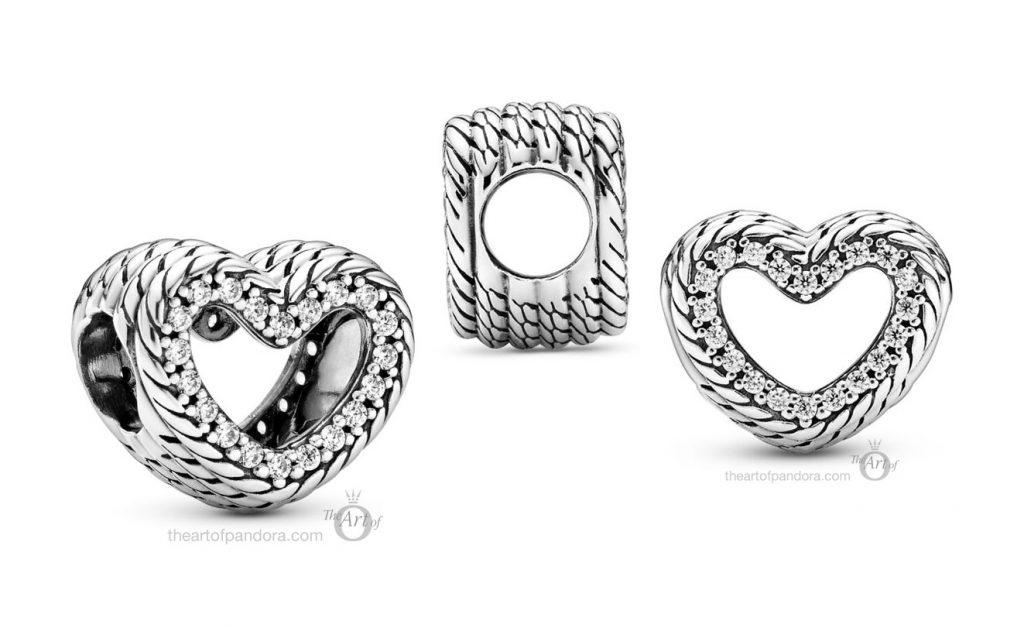 Pandora Snake Chain Pattern Open Heart Charm (799100C01) autumn 2020