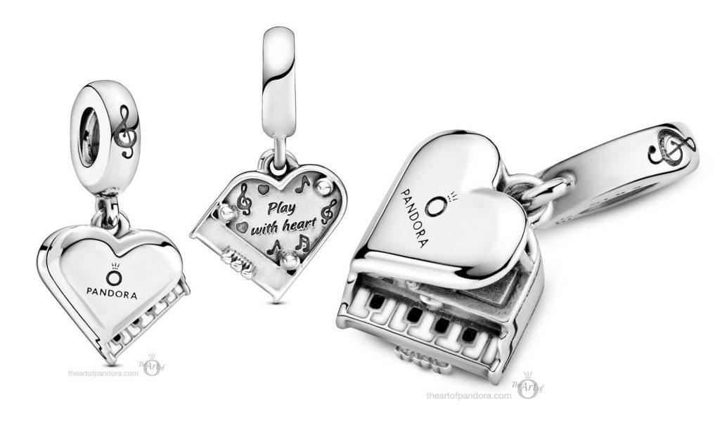 Pandora Grand Piano Heart Dangle Charm  (799101C01)