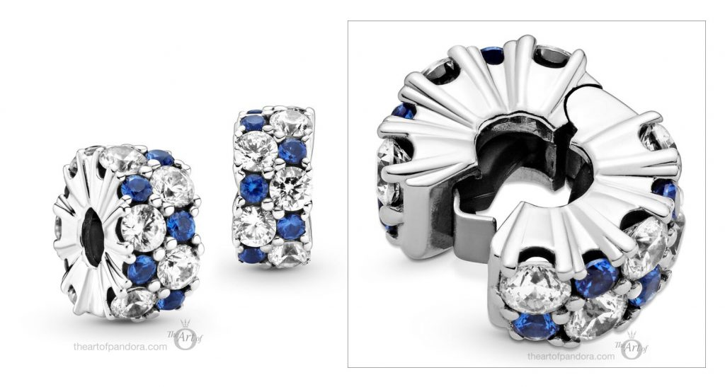 Pandora Clear & Blue Sparkle Clip (799171C01) winter 2020