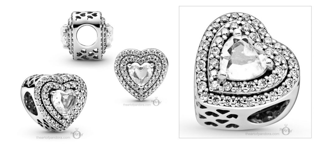 Pandora Sparkling Levelled Hearts Charm (799218C01) winter 2020