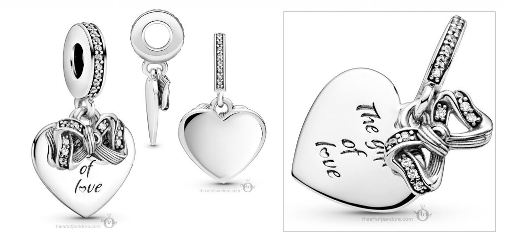 Pandora Bow & Love Heart Dangle Charm (799221C01) winter 2020