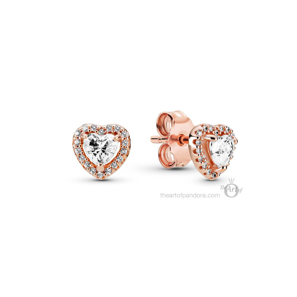 Pandora Rose Sparkling Elevated Hearts Stud Earrings  (288427C01) winter 2020