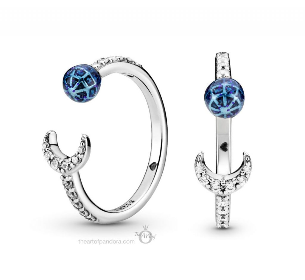 China Exclusive Pandora Blue Earth & Moon Open Ring  (199238C01)