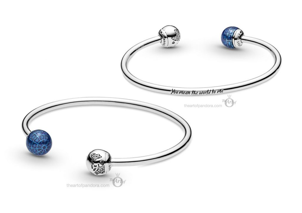 599223C01 Pandora blue planet & globe open bangle