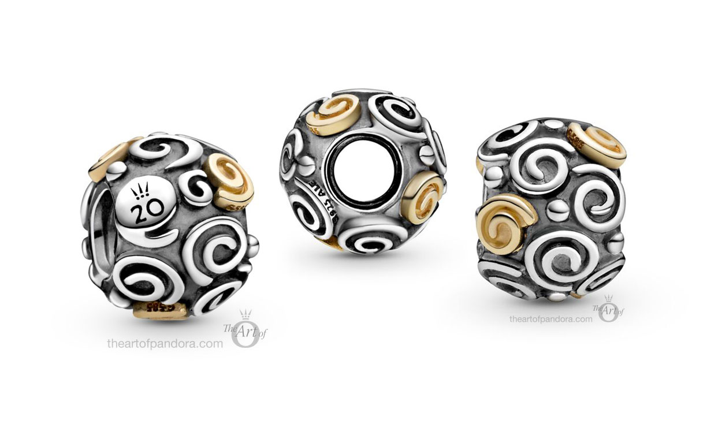 799117C00 Pandora 20th Anniversary Swirls charm