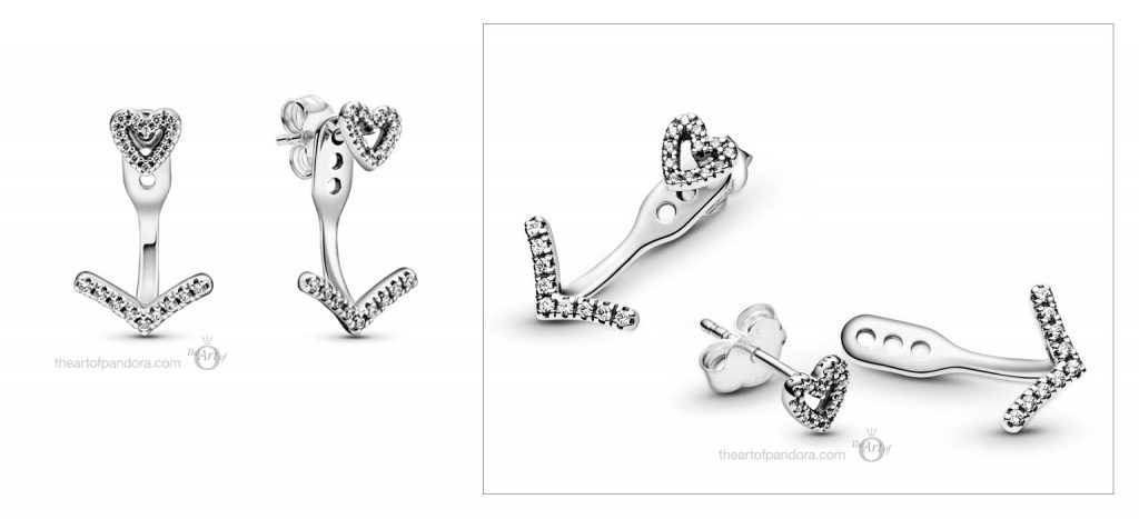 Pandora Sparkling Wishbone Heart Stud Earrings (299280C01) valentines day 2021 Chinese new year cny
