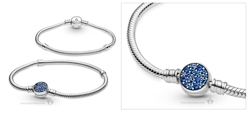 Pandora Moments Sparkling Blue Disc Clasp Snake Chain Bracelet (599288C01) Valentine's Day 2021 new collection Chineses new year