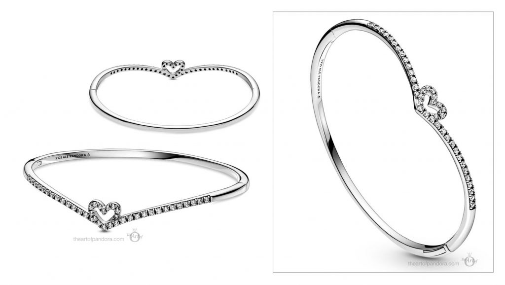 Pandora Sparkling Wishbone Heart Bangle (599297C01) valentine's Day 2021 new collection Chineses new year