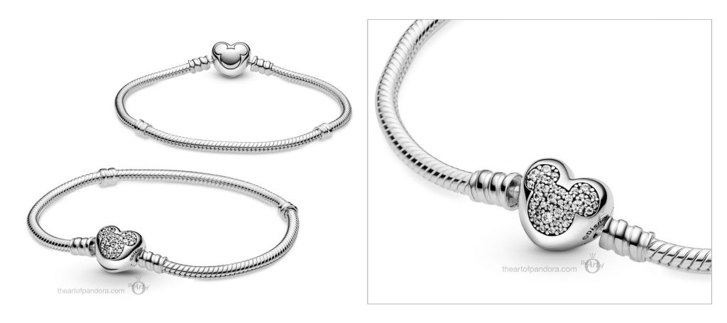 Disney x Pandora  Moments Mickey Mouse Heart Clasp Snake Chain Bracelet (599299C01) valentine's Day 2021 new collection Chineses new year