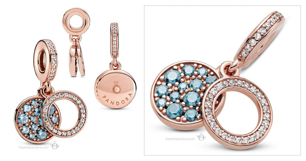 Pandora Rose Sparkling Light Blue Disc Double Dangle Charm (789186C03) valentines day 2021 Chinese new year cny
