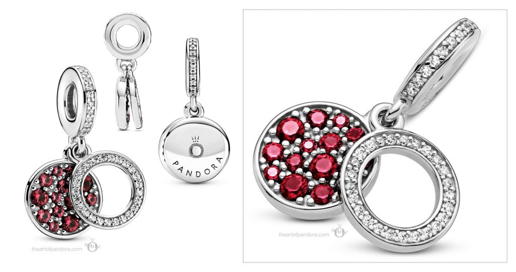 799186C03 Pandora Sparkling Red Disc Double Dangle Charm valentines day 2021 Chinese new year cny