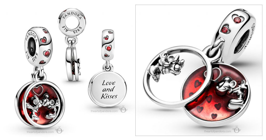 Disney x Pandora  Mickey & Minnie Mouse Love Kisses Dangle Charm (799298C01) valentines day 2021 Chinese new year cny