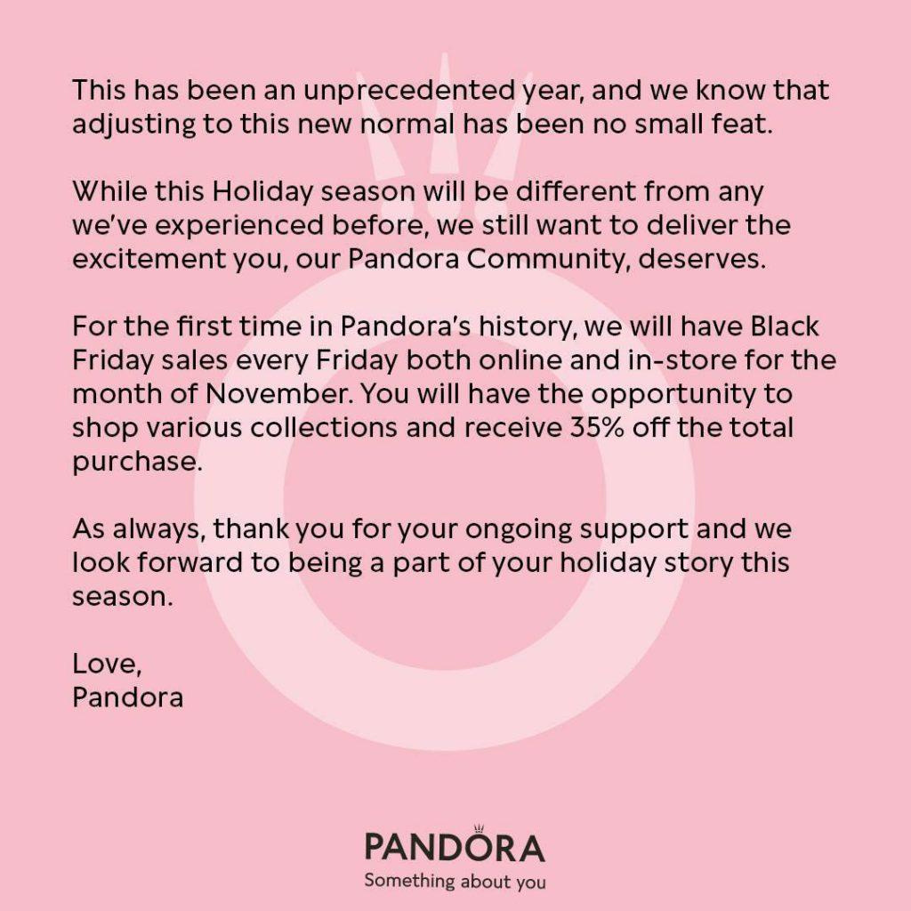Pandora Black Friday 2020