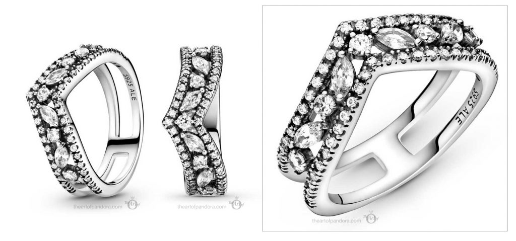 Pandora Wish Sparkling Marquise Double Wishbone Ring (199095C01)