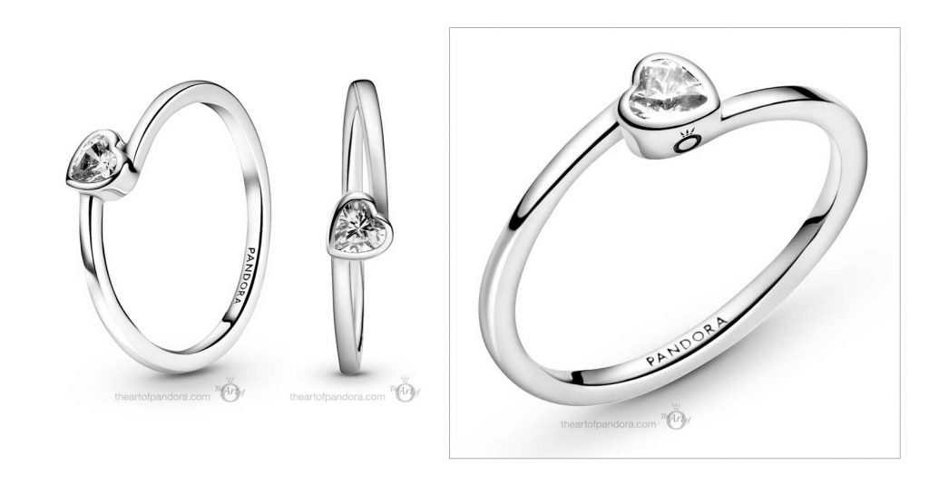 199267C02 Pandora Clear Tilted Heart Solitaire Ring