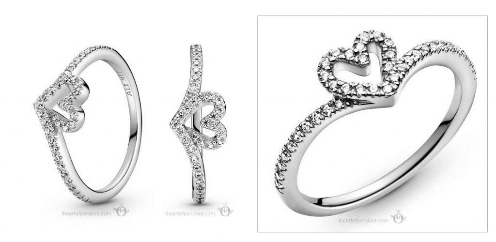 valentines day 2021 Chinese new year cny Pandora Wish Sparkling Wishbone Heart Ring (199302C01)