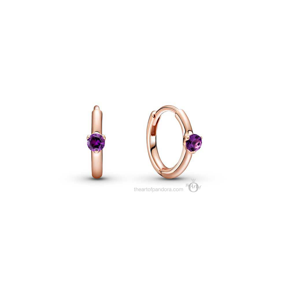 Pandora Colours Purple Solitaire Huggie Hoop Earrings (289304C01)