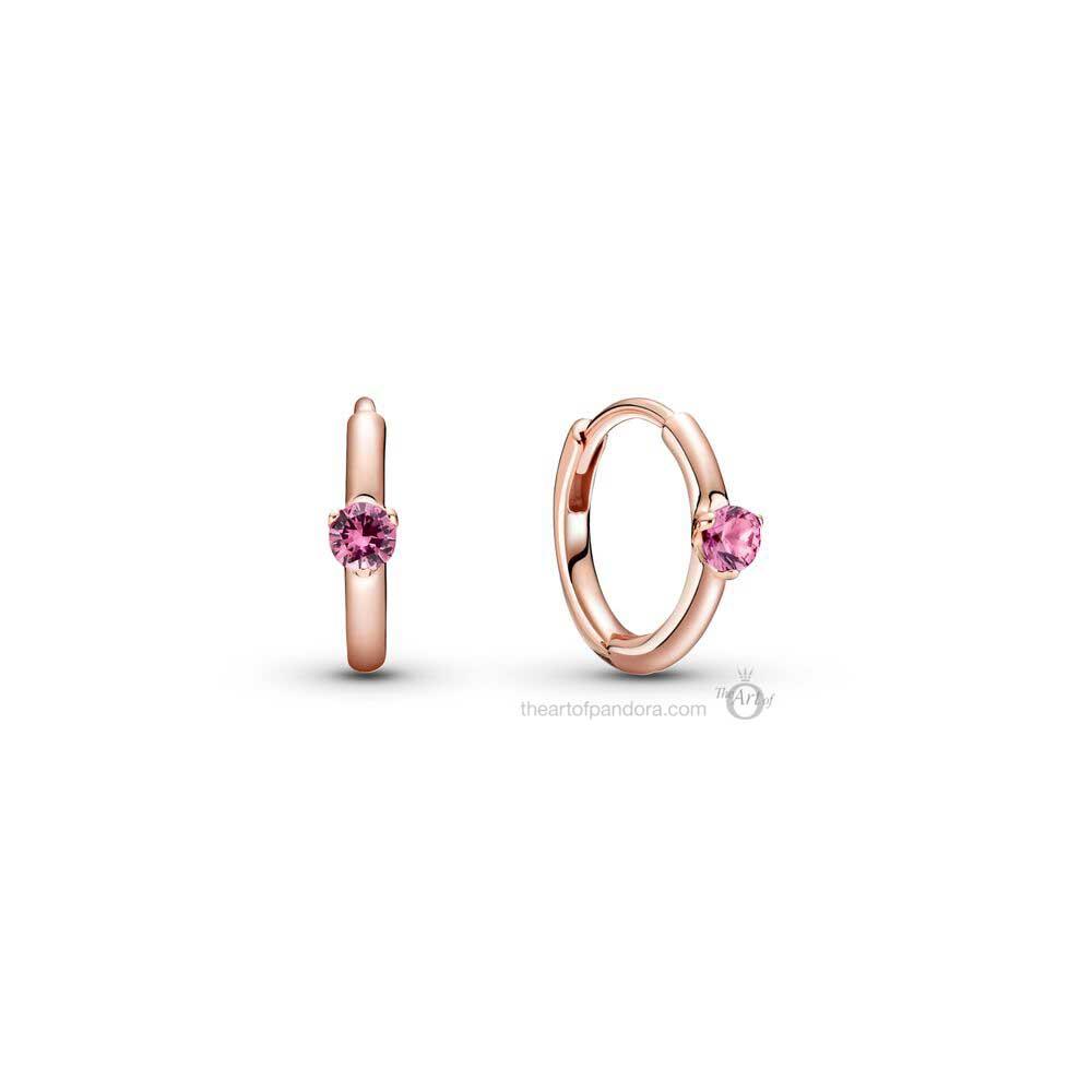 289304C03 Pandora Colours Pink Solitaire Huggie Hoop Earrings
