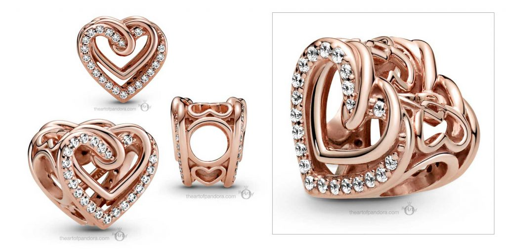 Pandora People Sparkling Entwined Hearts Charm