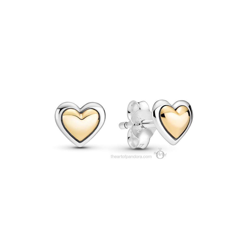Pandora Two Tone  Domed Golden Heart Stud Earrings (299389C00) Mother's Day spring occasions 2021