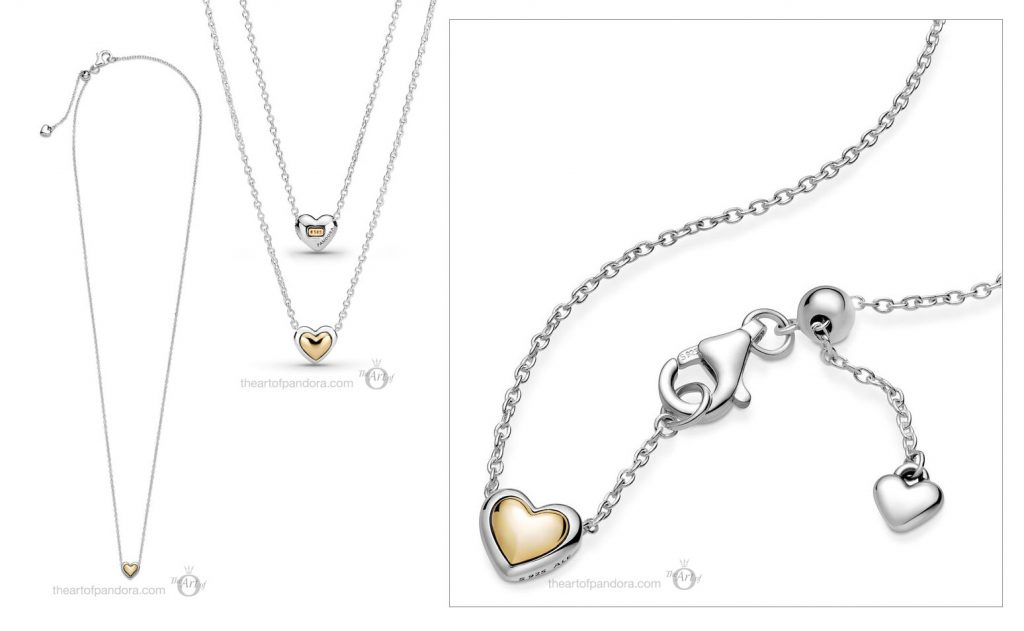 Pandora Two Tone  Domed Golden Heart Necklace (399399C00) Mother's Day spring occasions 2021