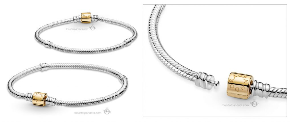 Pandora Moments  Two Tone Barrel Clasp Snake Chain Bracelet (599347C00) Mother's Day spring occasions 2021