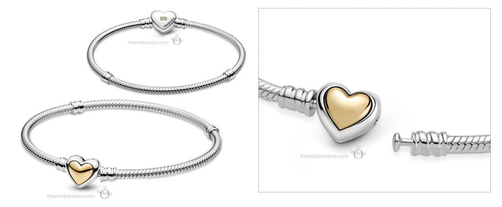 Pandora Moments Domed Golden Heart Clasp Snake Chain Bracelet (599380C00) Mother's Day spring occasions 2021