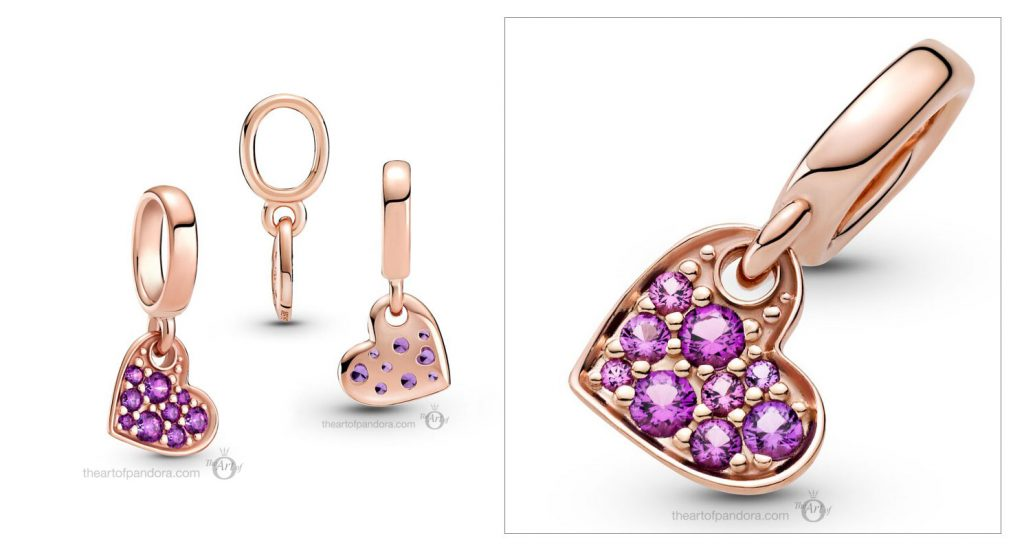 Pandora Royal Purple Pavé Tilted Heart Dangle Charm (789404C03) Mother's Day spring occasions 2021