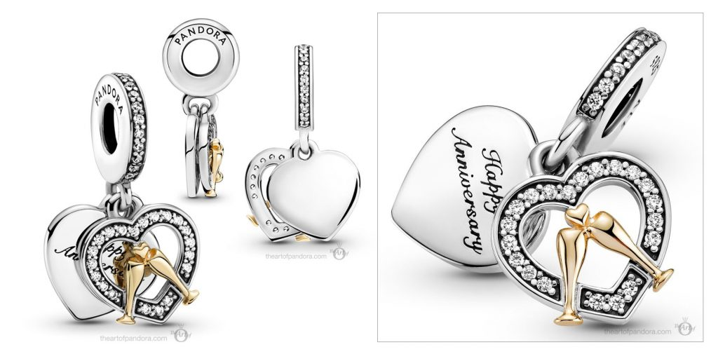 Pandora Two Tone Happy Anniversary Dangle Charm (799322C01) Mother's Day spring occasions 2021