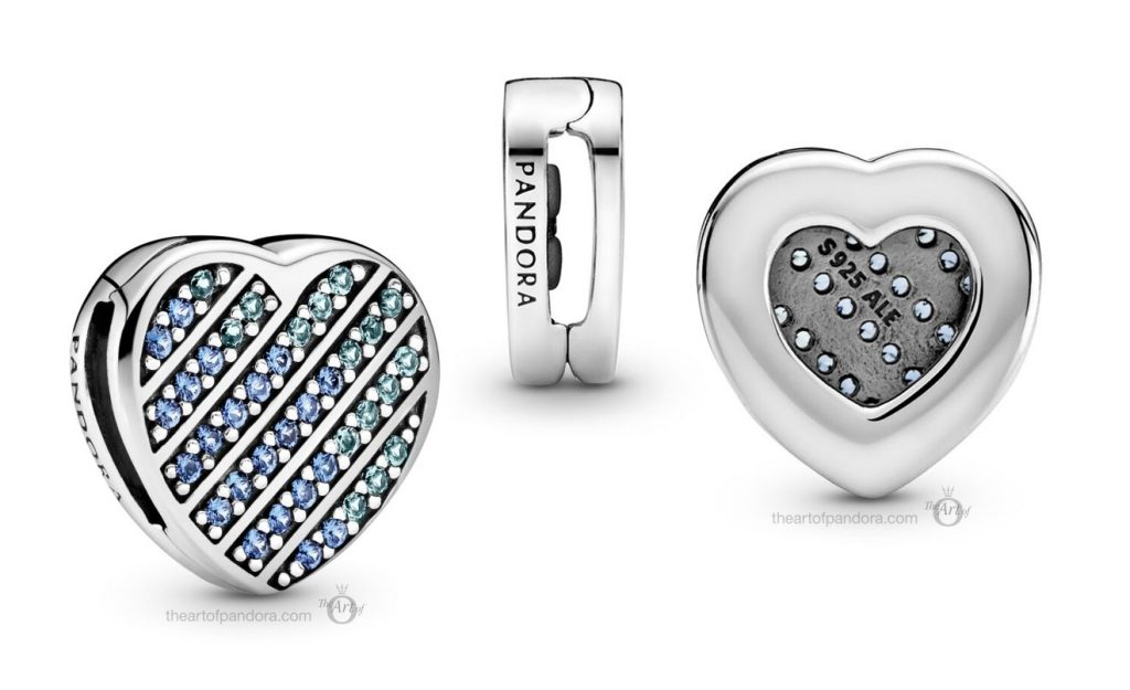 Pandora Reflexions Blue Pavé Heart Clip (799346C01) Mother's Day spring occasions 2021