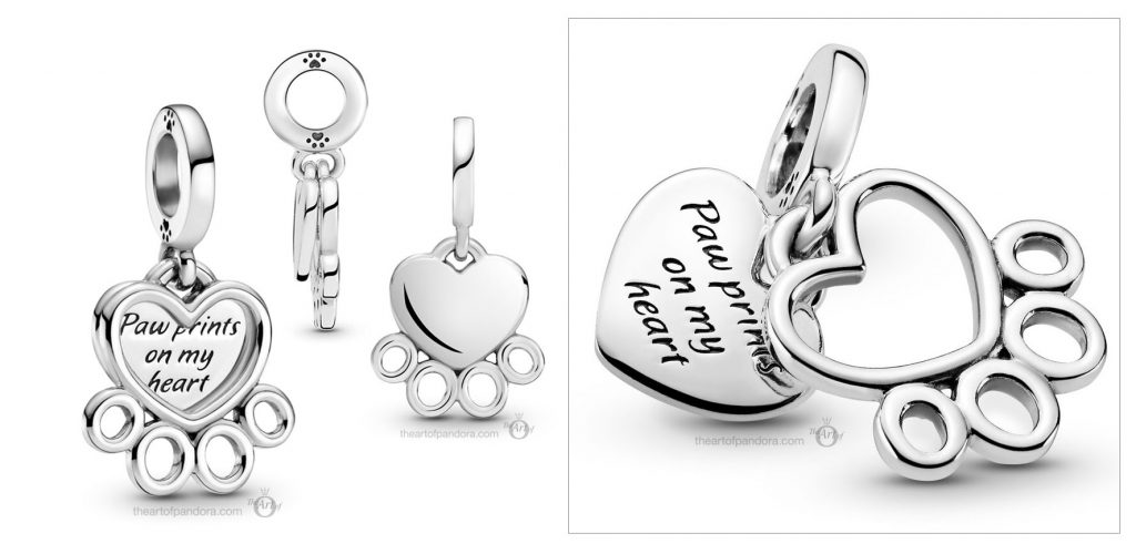 Pandora Hearts Paw Print Dangle Charm (799360C00) Mother's Day spring occasions 2021