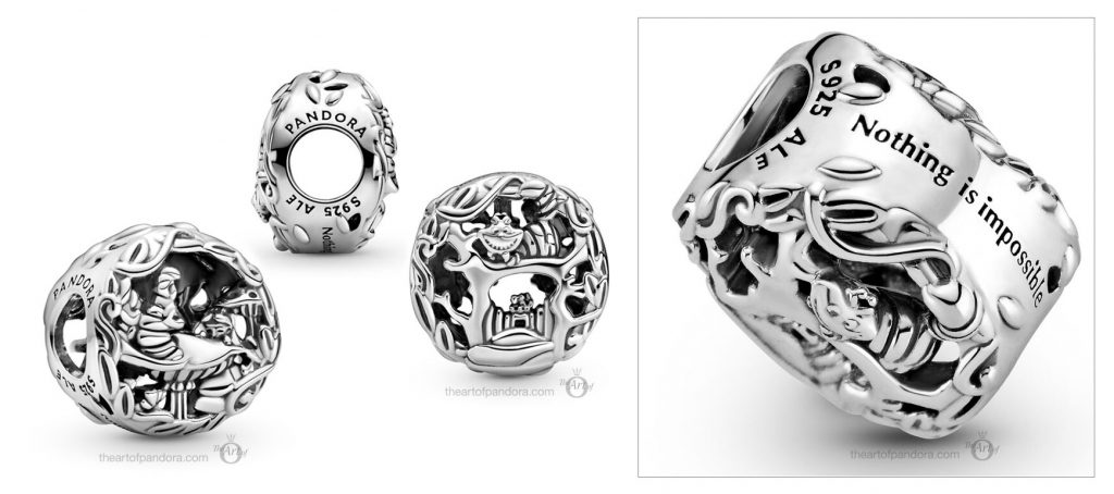 Disney x Pandora Alice in Wonderland Cheshire Cat & Absolem Caterpillar Charm  (799361C00) Mother's Day spring occasions 2021