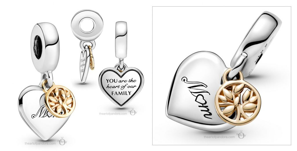 Pandora Two Tone Family Tree Heart Dangle Charm (799366C00) Mother's Day spring occasions 2021