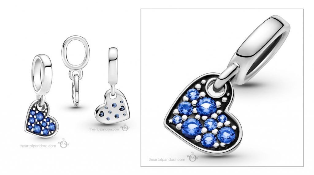 Pandora Me Stellar Blue Pavé Tilted Heart Dangle Charm (799404C01) Mother's Day spring occasions 2021
