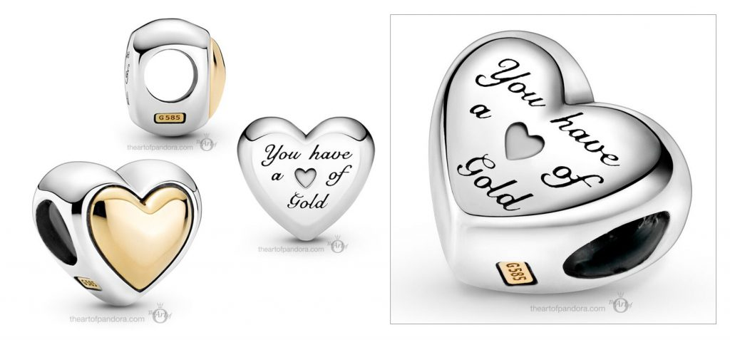 Pandora Two Tone Domed Golden Heart Charm (799415C00) Mother's Day spring occasions 2021